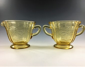Federal Glass Breakfast Set - Madrid Pattern - Amber Depression Glass - Creamer and Open Sugar Bowl