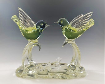 Vintage Art Glass Bird Sculpture - Two Glass Flying Birds - Yellow Glass Birds