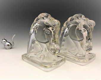Federal Glass #2563 Horse Head Bookends - Set of 2 Vintage Glass Horses - 1940's