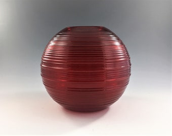 Imperial #701 Reeded Pattern Ruby Red Ball Vase - Rose Bowl - Depression Era Glass - Hard to Find