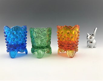 Set of 3 Vintage 1960's Fenton Art Glass Toothpick Holders - Hobnail and Daisy Button - Blue Green and Amberina