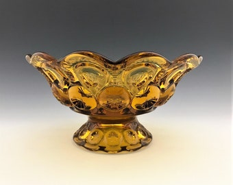 L.E. Smith Amber Glass Crimped Compote - Moon and Stars - Number 5201