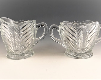 Vintage Indiana Glass Breakfast Set - Art Deco Style - Pattern #303 - Geometric Swirl Design - Creamer and Open Sugar Bowl