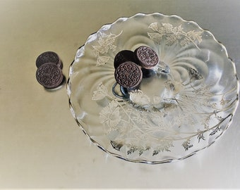 Silver City Glass Footed Cake Plate With Sterling Overlay - Flanders Clear Pattern