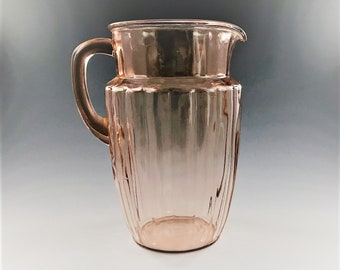 Anchor Hocking Pink Depression Glass Pitcher - Pillar Optic / Log Cabin Pattern -  1930's Vintage
