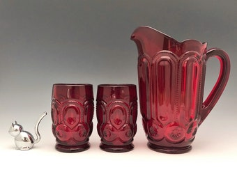 Weishar Moon and Star Ruby Red Water Set - Full Size Pitcher and Six Tumblers - Hard to Find