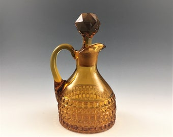 EAPG Amber Glass Cruet - Bryce Brothers Orion (OMN) Pattern - AKA Cathedral - Early American Pattern Glass - Circa 1884