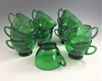 Set of 12 Anchor Hocking Forest Green Punch/Snack Cups