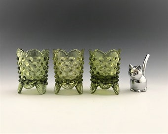 Set of 3 Vintage 1960's Fenton Art Glass Hobnail Toothpick Holders - Colonial Green