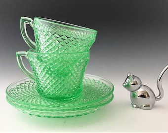 Westmoreland English Hobnail Green - Cups and Saucers - Set of Two