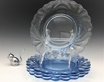 Cambridge Glass Caprice Pattern - Moonlight Blue Salad Plates - Set of Four - 8 1/2 Inch Plates - Elegant Depression Era Glass