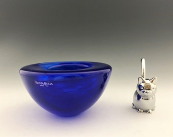 Kosta Boda Cobalt Blue Bowl - Atoll Votive Holder - Swirl Candle Bowl