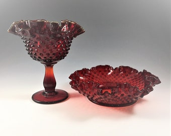 Fenton Ruby Hobnail - Footed Comport (3628) and 8 Inch Bonbon (3716) - Vintage Ruby Red Glass