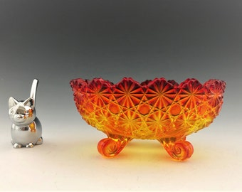 L.G. Wright Amberina Bowl - Daisy and Button Patter - Four-Toed Bowl - Trinket Dish
