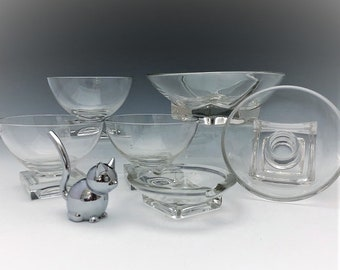 Cambridge Square Pattern - Set of 6 Pieces - Sherbets - Divided Relish - Candle Holder - Ashtray - Elegant Mid-Century Glass