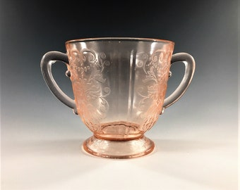 Pink Depression Glass - MacBeth-Evans American Sweetheart Pink - Open Sugar Bowl