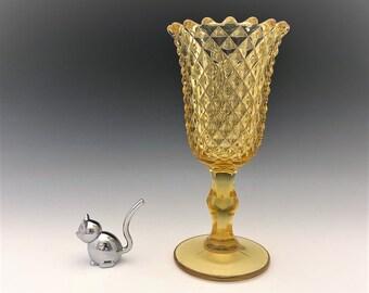 Imperial #194 Diamond Point Vase - Yellow Glass Vase