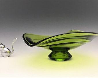 Viking Glass No. 6705 Heart Shaped Bowl - Green Glass Footed Bowl