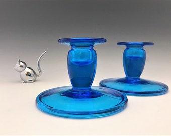 Co-Operative Flint Glass Blue Candlesticks - Depression Era Candlesticks - Hard to Find