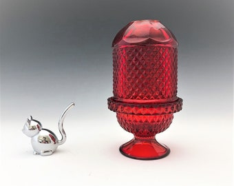 Viking Glass Ruby Red Diamond Point Glimmer #6700 Fairy Lamp - Fairy Light - Courting Lamp