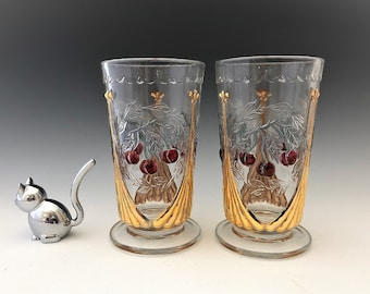 L.G. Wright Cherry Pattern Iced Tea Glass - Wreathed Cherry Footed Tumbler - Hard to Find
