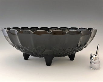 Vintage Indiana Black Glass Centerpiece Bowl - Amethyst Fruit Bowl - Garland Pattern - Hard to Find Color