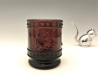 St. Clair Glass Amethyst Toothpick Holder - Bicentennial Edition - Indian Chief - George Washington Bust - Liberty Bell