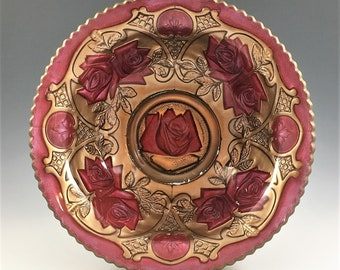 Goofus Glass Bowl - Indiana Glass #132 - Roses In The Snow Pattern - Red and Gold Bowl - Rose Motif