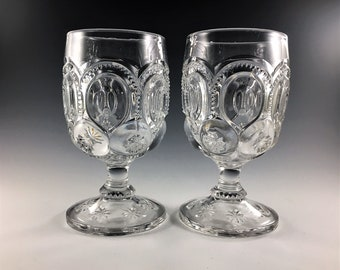 Vintage Set of 2 Moon and Stars Goblets - L.E. Smith - Moon and Stars Pattern - Clear Glass Water Goblets