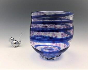 Blue Swirl Art Glass Vase - Signed