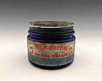 Vintage Cobalt Blue Noxema Jar - Metal Lid - Shave Cream