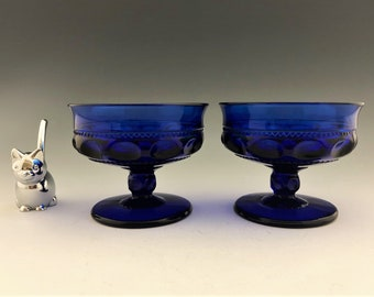 Indiana Glass King's Crown Cobalt Sherbet or Champagne Cups - Set of 2 Thumbprint Sherbets