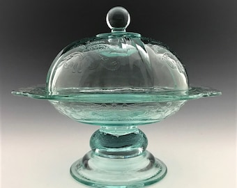 Indiana Glass Recollection Two Piece Candy Dish and Cover - Teal Glassware - Madrid Pattern Reissue - Original Box