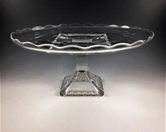 Viking Glass Princess Plaza (#5525) 12 Inch Cake Plate - Salver - Vintage Cake Stand - Mid Century Glass