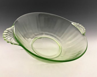 Hocking Glass Master Berry Bowl - Glowing Uranium Glass Bowl - Green Depression Glass Bowl - AH105 Bowl