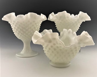 Collection of 3 Vintage Fenton Milk Glass Hobnail Pieces - Crimped Rim Squat Vases and Compote