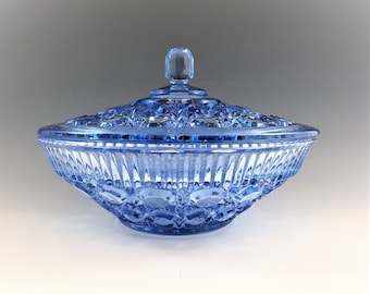 Indiana Glass Covered Candy Dish - Windsor Pattern - Blue Glass Candy Bowl