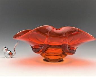 Viking Glass Epic Drape Persimmon Console Bowl - Mid Century Glass