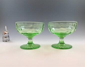 2 Uranium Glass Sherbets - Anchor Hocking Block Optic Pattern - Green Depression Glass - Champagne Glasses - Glowing Glass - 1929-33