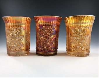 Set of 3 Vintage Carnival Glass Tumblers - Imperial Glass - Open Rose Pattern - Lustre Rose