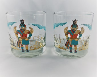 Set of Two Vintage Tumblers from Couroc of Monterey - Kachinas Rocks Glasses - Low Ball Whiskey Glasses - Hummingbird Kachina