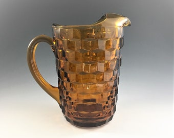 Indiana Glass Pitcher - Whitehall Pattern - Line #521 - Amber Glass Water Pitcher
