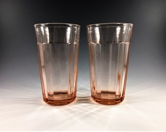 Set of 2 Pink Depression Glass Tumblers - Hocking Glass - Pillar Optic - 12 Ounce Flat Tumblers