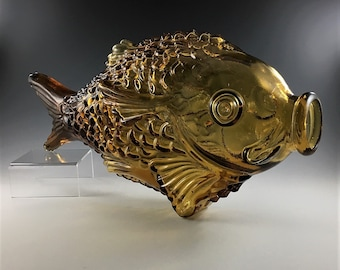 Large Amber Glass Fish - Retro Fish Bottle - Groovy Man Cave Accent Piece - Wine Bottle Decor Item - Made in Italy