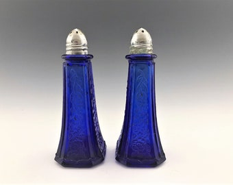 Vintage Cobalt Blue Salt and Pepper Shakers - Hocking Mayfair Pattern