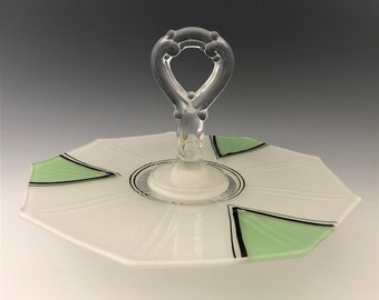 Indiana Glass Nonagonal Center Handled Server (CHS) - Artura Pattern - Art Deco Serving Plate/Tray - Nine Sides