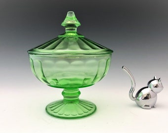 Hazel Atlas Covered Candy Dish - Ovide Pattern - Green Depression Glass - Glowing Uranium Glass