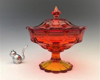 Fenton Velencia Candy Jar - No. 8386 Covered Candy Box - Amberina Glass - Mid Century Glass