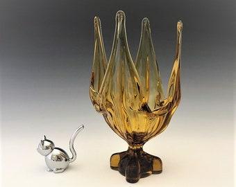 Amber Art Glass Vase - Italian Art Glass - Viking Glass Style