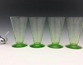Depression Era Uranium Glass Footed Tumblers - Set of 4 Glowing Glass Tumblers